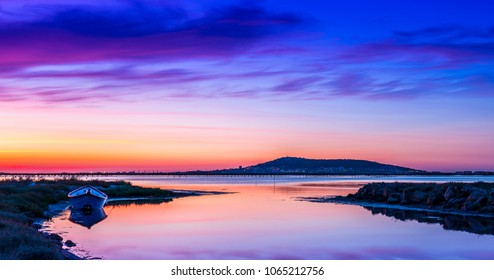 pond of Thau and Sete at sunrise, France