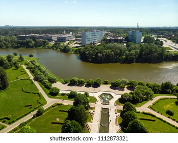 pond in Victory Park in Zelenograd in Moscow, Russia