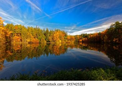 Pond Voderadske buciny, autumn landscape, reflection of water