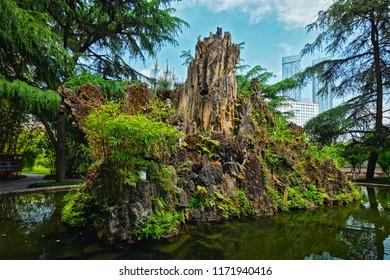 Pond in Wangjiang Pavilion (Wangjiang Tower) in Wangjianglou Park. Chengdu, Sichuan, China