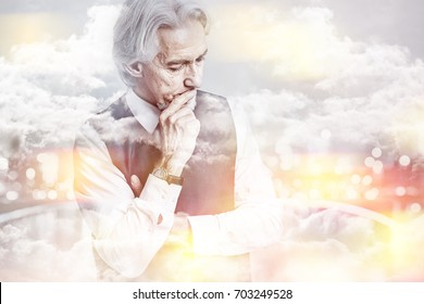 Pondering businessman with finger at his chin thinking double exposure