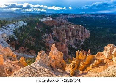 Ponderosa Canyon lid by Beautiful Sunset light Bryce Canyon National Park