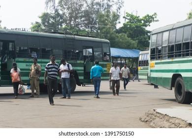 PONDICHERRY, INDIA - APRIL 2nd, 2018: Public Transportation, Pondicherry Puducherry, Tamil Nadu India Indian Bus Station