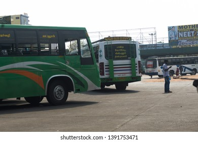 PONDICHERRY, INDIA - APRIL 2nd, 2018: Busy Indian People in the Pondicherry Puducherry Bus Station, Tamil Nadu, India.