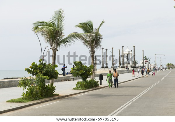 PONDICHERRY, INDIA - August 15, 2017: Independence day. The Promenade by the sea in the Gandhi statue area