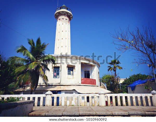 PONDICHERRY, INDIA - January 2915: Old historical lighthouse in Pondicherry city, Tamil Nadu, India
