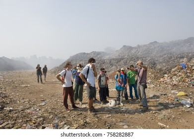 PONDICHERRY, INDIA - March 2016: Educational program carried out by Wasteless, Auroville, in the dump of Pondicherry, to increase awareness about the problem of waste disposal in India