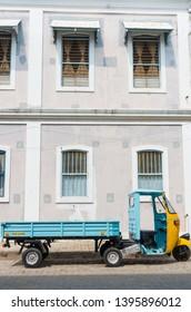 Pondicherry, India - October 12, 2014: Truck on the street in Pondicherry also known as Puducherry, India