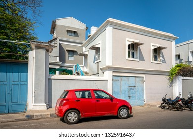 Pondicherry, Puducherry, February, 19, 2019: Old  French style colonial  houses and villas are the attraction of tourists, Puducherry,India,Asia