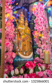 Pondicherry, Puducherry, February, 19,2019: Close up of Mother Mary  holding Jesus statue located inside  Church  Basilica of the sacred heart of Jesus,Puducherry, India ,Asia