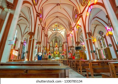 Pondicherry, Puducherry, February, 19,2019: Low wide  angle view showing   famous  landmark church interior,   Basilica of the sacred heart of Jesus,  Puducherry, India ,Asia