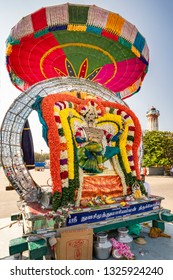 Pondicherry, Puducherry, February, 19,2019: Religious installations  on mobile platforms of local deities  decorated with multicolor flowers and jewellery  street of Puducherry,India ,Asia