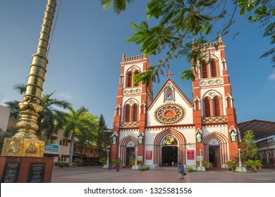Pondicherry, Puducherry, February, 19,2019: Wide angle exterior view  of Church  Basilica of the sacred heart of Jesus, Puducherry, India ,Asia