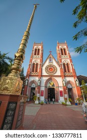 Pondicherry, Puducherry, February, 19,2019: Wide low angle  exterior view  of Basilica of the sacred heart of Jesus,  church, Puducherry, India ,Asia