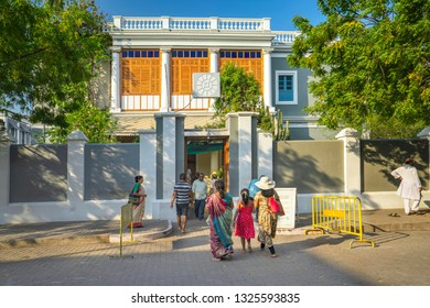 Pondicherry, Puducherry, February, 19,2019:Exterior view of famous  landmark  Aurobindo Ashram in old architecture Puducherry, India, Asia