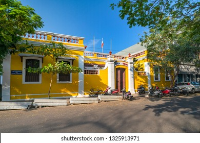 Pondicherry, Puducherry, February ,19,2019:Old mustard color French  style colonial houses and villas are the attraction of tourists, Puducherry,India,Asia