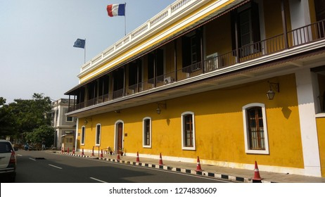 PONDICHERRY/PUDUCHERRY, TAMIL NADU, INDIA - DECEMBER 31, 2018: Consulate General of France in Pondicherry (Consulat général de France à Pondichéry) located on the Marine Street of White Town.