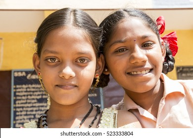 Pondichery, Tamil Nadu, India - March 03, 2014. In the school, portraits of indian boys and girls, serious, happy sad smiling differents feelings