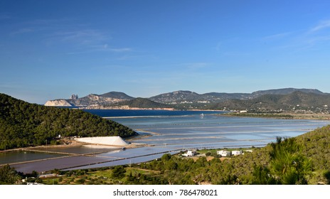 Ponds of the ibiza salt flats, panoramic view