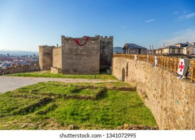 PONFERRADA, SPAIN - JUN 12, 2017: Citadel and castle wall of the Templar castle, XII - XV centuries
