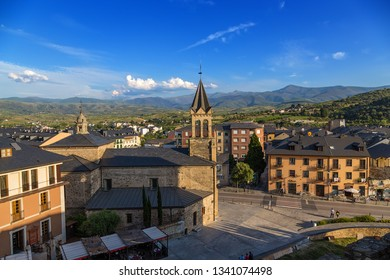 PONFERRADA, SPAIN - JUN 12, 2017: Scenic view from the fortress wall: in the center - the church of San Andres, XVII cent.