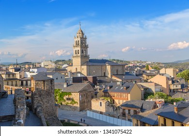 PONFERRADA, SPAIN - JUN 12, 2017: Scenic view of the city and the Basilica of Encina from the fortress wall