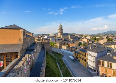 PONFERRADA, SPAIN - JUN 12, 2017: Scenic view of the city from the fortress wall