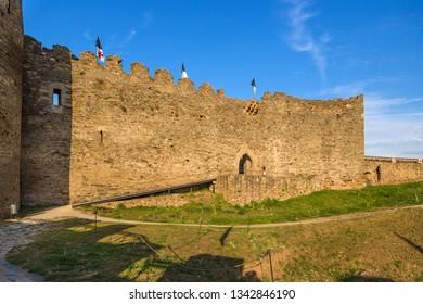 PONFERRADA, SPAIN - JUN 12, 2017: Wall and entrance gate of the citadel