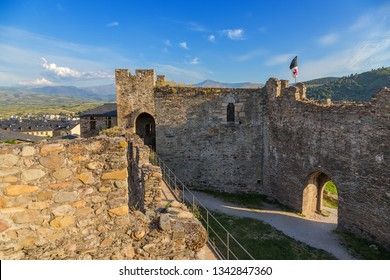 PONFERRADA, SPAIN - JUN 12, 2017: The ruins of the citadel of the medieval castle of the Knights Templar