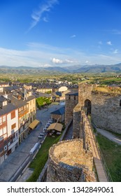 PONFERRADA, SPAIN - JUN 12, 2017: The walls and towers of the citadel of the castle of the Knights Templar