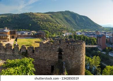 PONFERRADA, SPAIN - JUN 12, 2017: The ruins of a medieval castle Templar