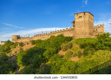 PONFERRADA, SPAIN - JUN 13, 2017: View of the Templar fortress from the bridge at sunset