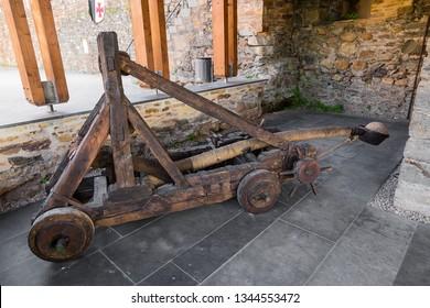 PONFERRADA, SPAIN - JUN 13, 2017: Ancient catapult in the Templar fortress