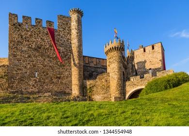 PONFERRADA, SPAIN - JUN 13, 2017: Walls, towers, gates and bridge of the Templar fortress, XII - XV centuries