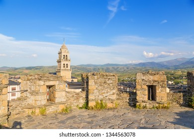 PONFERRADA, SPAIN - JUN 13, 2017: View of the city and the Basilica of Encina from one of the fortress towers