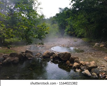 Pong Name Lon Tha Pai Hot Springs Located in Pai Mae Hong Son Province North of Thailand. In South East Asia. Water temperature up to 80-100 degrees Celsius can boil eggs to be cooked.
