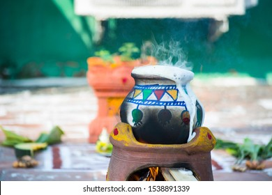 Pongal pot with decoration - Thai Pongal is a harvest festival dedicated to the Sun God. Thai Pongal corresponds to Makara Sankranthi, the harvest festival celebrated throughout India