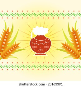 Pongal - The south Indian harvest festival with pot and wheat celebrated on 15th January
