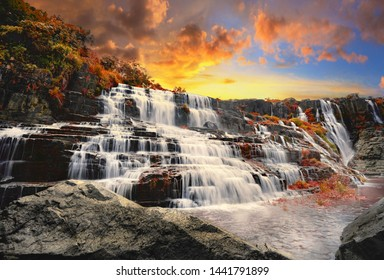 Pongour Waterfall. Amazing Pongour Waterfall is famous and most beautiful of fall in Vietnam. Dalat, Vietnam