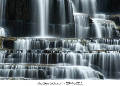 Pongour waterfall in Dalat, Vietnam. Flowing water natural background