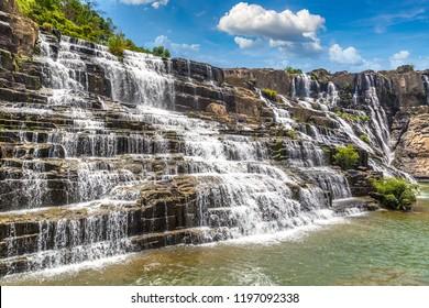 Pongour Waterfall near Dalat city, Vietnam in a summer day
