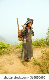 PONGSALI, LAOS - APRIL 2014: indigenous tribal Akha Village