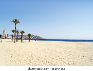 Poniente beach in Benidorm, Spain