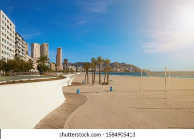 Poniente beach, panorama of Benidorm with skyscrapers, palm trees and a beautiful promenade, Spain.