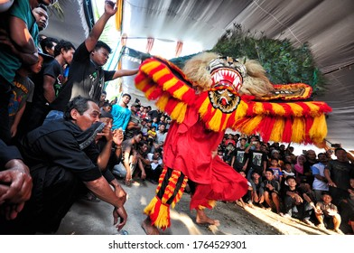 """Ponorogo, East Java, Indonesia - February, 2020: Attraction of traditional art from Ponorogo, East Java, called """"Reyog"""". Reyog or Reog art described the story about the origin of the city and people."""