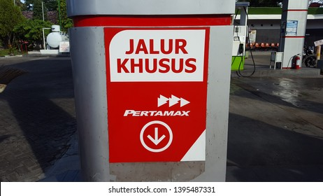 Ponorogo, Indonesia-05/01/2019: Warning sign on a refueling so that people are more careful. No smooking, no celular phone, no camera capture, no lighting and special lane