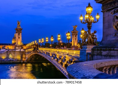 Pont Alexandre III (Alexander the third bridge) over river Seine in Paris, France. Architecture and landmarks of Paris. Postcard of Paris