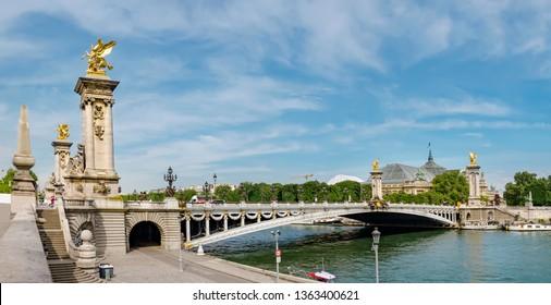 Pont Alexandre III bridge (1896) over river Seine in Paris, France, panoramic view