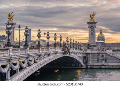 Pont Alexandre III at sunset over the river Seine. One of the main historical attractions of the French capital. Paris, France. High dynamic range image.