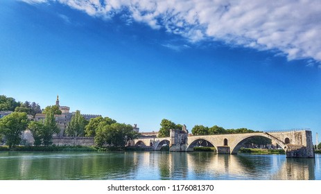 "Pont Saint-Bénézet, Avignon, Vaucluse, Provence, South of France. A beautiful medieval bridge on the Rhone. Made famous by the popular children song ""Sur le pont d'Avignon."""